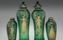 Pair of covered green vases, about 1765.