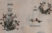 Design drawing for decanter and cosmetic jar with jeweled embellishments