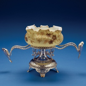 Crown Milano Bowl on Stand by Mt. Washington Glass Company