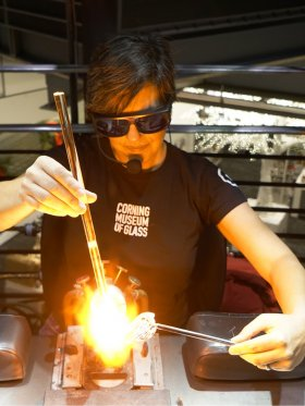 Jen Kuhn during a flameworking demonstration