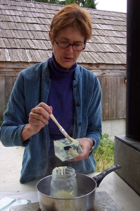 Mary White teaching Kiln Fusion techniques at Pilchuck, 2003