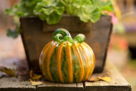 A green and yellow glass pumpkin sit on a wooden table.