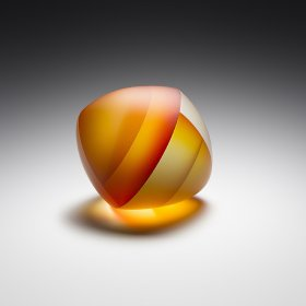 Orange, yellow, and red sandblasted glass sculpture