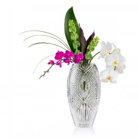 Waterford Cut Crystal Vase with Orchids and Greens