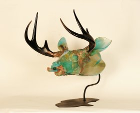 """River Buck, Grant Garmezy 27"""" x 24"""" x 26"""", hot sculpted furnace glass, electroplated copper, steel, 2014  Photo credit: Brian Cannizzaro"""