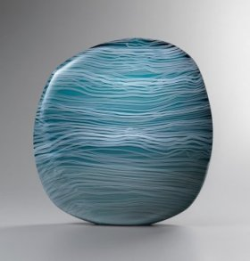 Awash in Blue by Clare Belfrage, #010414, 2014, Blown glass with cane drawing, h 46, w 41, d 6 cm, (Photo Credit Rob Little)