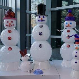 Glass Snow Family including snow dog