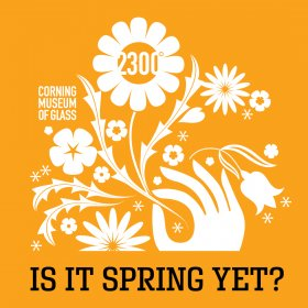 Golden yellow background with white flowers and a hand graphic, with the words 'Is It Spring Yet?' in black text at the bottom.
