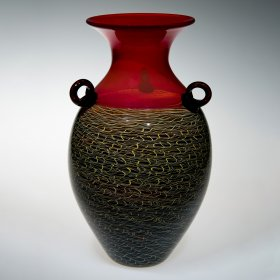 Vase with tan and blue body and red top
