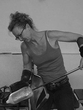 Micha Karlslund at work in her studio