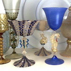 A selection of gold and blue Venetian-style goblets