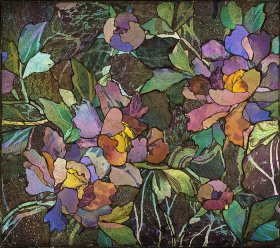Mosaic panel with peonies, about 1900–1910. Tiffany Glass and Decorating Company or Tiffany Studios. Glass mosaic, bronze. H. 34.5 cm; W. 39 cm; D. 2 cm. The Corning Museum of Glass, Corning, New York (77.4.91). Photo: The Corning Museum of Glass, Corning, New York