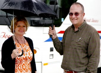 Corning Museum of Glass employees Sally Berry, Tourism Sales and Marketing Manager, with Bill Gilbert, Safety Manager, during the June 6 inspection.