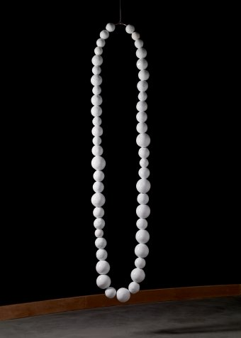 The White Necklace Jean-Michel Othoniel (French, b. 1964) Italy, Venice, Murano, 2007 Blown, hot-worked glass and steel Estimate H: 274.3 cm, W: 55.9 cm, D: 14 cm Collection of The Corning Museum of Glass 2010.3.133