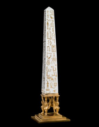 Obelisk, Werner and Mieth Workshop, Berlin, Germany, about 1800–1810. H: 69.5 cm; W: 8 cm. (2013.3.13, Collection of The Corning Museum of Glass)