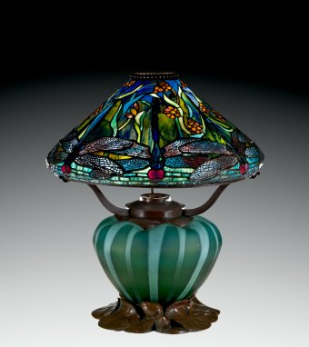Reading Lamp with Dragonflies and Water Flowers, Clara Pierce Wolcott Driscoll for Louis Comfort Tiffany