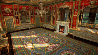 Video still of virtual reality reconstruction of the 18th century Robert Adams-designed glass drawing room at Northumberland House. Created by Noho and Makebelieve. Courtesy of The Corning Museum of Glass.