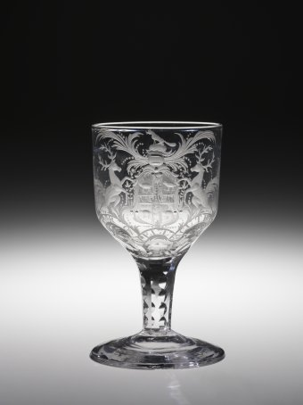 Chinoiserie goblet, cut and engraved lead glass. England, about 1750–1770.