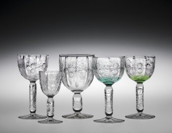 """Wineglasses in """"RC 105"""" Pattern, H. P. Sinclaire and Company (glass blank), J. Hoare & Company (glass cutting), Corning, New York, United States, about 1912. 93.4.72 A-E, gift of Thurman Pierce."""