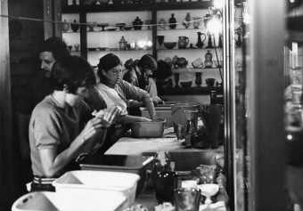 Volunteers wash flooded glass objects at The Corning Museum of Glass after 1972 flood