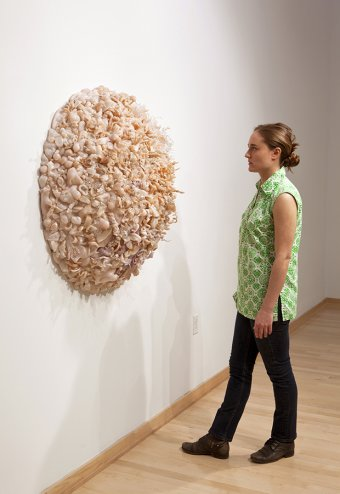 Amber with her sculpture, Basket (2011)
