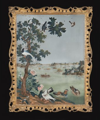 Reverse-painted mirror with landscape and birds; gilded wood frame.