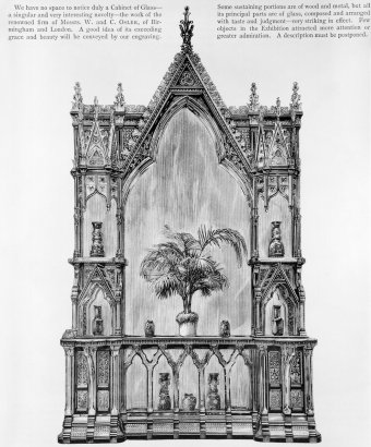 Fig. 10: Gothic-style glass cabinet exhibited by Osler at the 1878 world's fair in Paris. From The Illustrated Catalogue of the Paris International Exhibition, 1878 [note 23]. Juliette K. and Leonard S. Rakow Research Library.