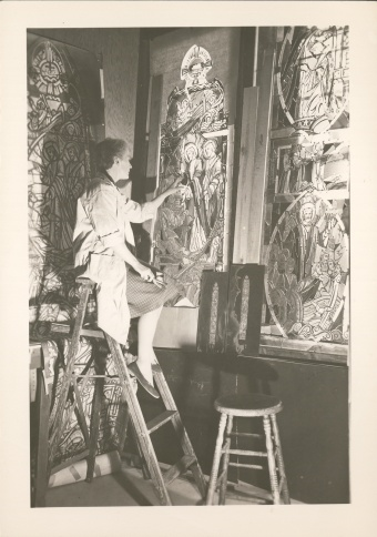 Katharine Lamb Tait working on a stained glass window