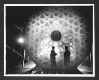McCauley and Hostetter Standing in Front of 200-Inch Disk. Ayers A. Stevens (American, 1883-1964), United States, New York, Corning, 1935. George V. McCauley papers. CMGL 116516.