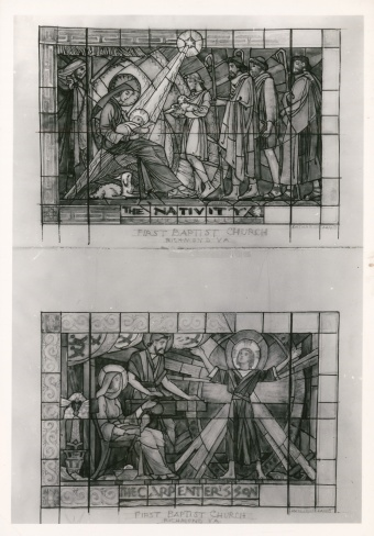 The Nativity and The carpenter's son stained glass cartoons, designed by Katharine Lamb Tait