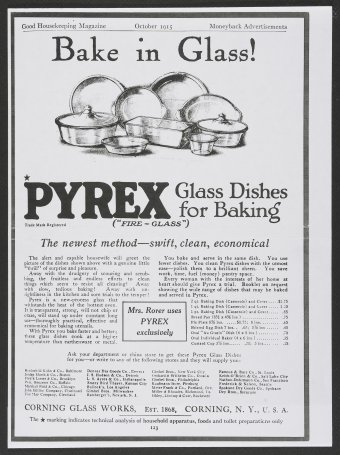 Bake in glass!, Corning Glass Works, published in Good Housekeeping, New York, 1915. Dianne Williams collection on Pyrex. CMGL 140302.