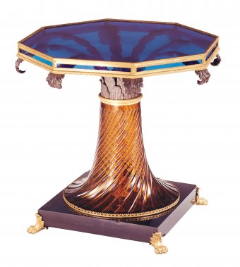 Figure 2. Glass table with gilded bronze mounts. Designed by Thomas-Jean de Thomon in 1808 and made at the Imperial Glassworks, St. Petersburg, Russia. H. 79 cm. (74.3.129), purchased with funds from the Museum Endowment Fund.