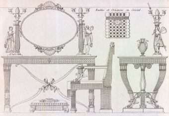Fig. 4: Design for dressing table. From Nouveau manuel complet du verrier ... , published by Julia Fontanelle in Paris, 1829, pl. 3. Juliette K. and Leonard S. Rakow Research Library.