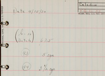 Page from a black notebook of loose-leaf data sheets with glass recipes, Frederick Carder, 1926 – 1931, Frederick Carder notebook collection, CMGL 112169