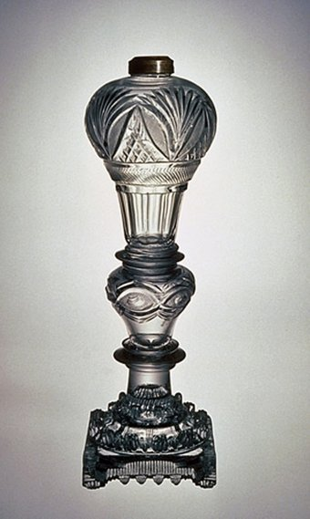 Fig. 2: Burning fluid lamp with cut font