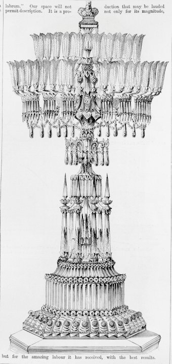 "Fig. 2:  ""Crystal Jewelled Candelabrum"" by Defries, from The Illustrated Catalogue of the Universal Exhibition [note 9], p. 51. Juliette K. and Leonard S. Rakow Research Library of The Corning Museum of Glass, Corning, New York."