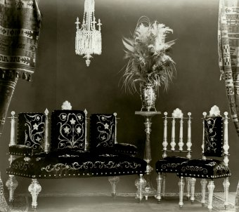 Fig. 2: Settee, table, and two chairs made for the nizam's palace, Hyderabad, India, Elias Palme, about 1895. Národní Technické Muzeum, Prague.