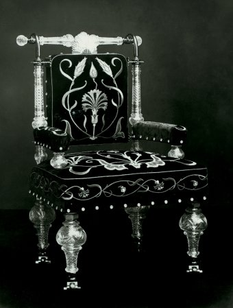 Fig. 6: Armchair made for the nizam's palace, Hyderabad, India, Elias Palme, about 1895. Národní Technické Muzeum, Prague.