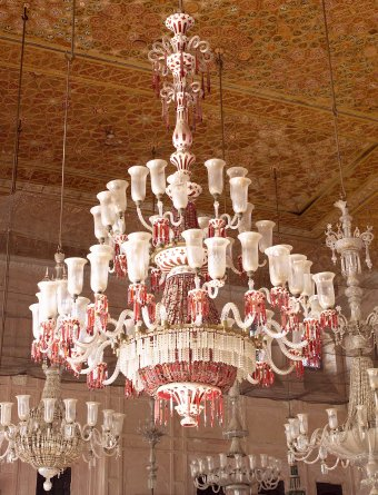 Fig. 8: Red cased chandelier in durbar hall at Qila Mubarak, Patiala. F. & C. Osler, probably 1870s.