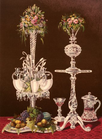 "Fig. 9: Glass table in a print, ""Engraved and Coloured Glass by Messrs. W. P. & G. Phillips, London."" From Masterpieces of Industrial Art & Sculpture at the International Exhibition, 1862 [chapter 4, note 8], pl. 68. Juliette K. and Leonard S. Rakow Research Library."