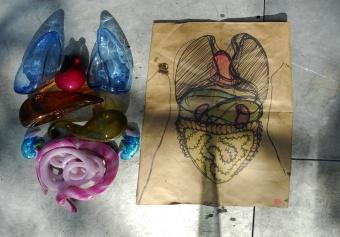 Design drawing and glass prototypes by designer Sigga Heimis at GlassLab Design Miami