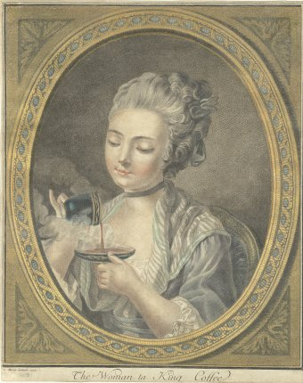 "Fig. 1: ""The Woman ta King Coffee,"" Louis Martin Bonnet, French, 1774, The Corning Museum of Glass.."