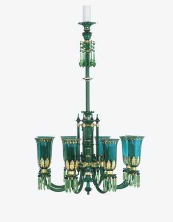 Fig. 22: Chandelier with eight arms, blown, cut, gilded; brass fittings. F. & C. Osler, about 1860-1880. H. 162.8 cm. The Corning Museum of Glass, Corning, New York (95.2.13).