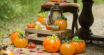 Buy glass pumpkins in the Museum Shop