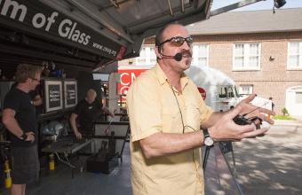 Designer James Victore at GlassLab on Governors Island, June 2012