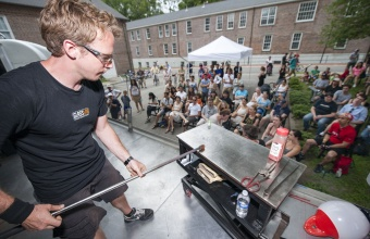Designer Mike Perry at GlassLab on Governors Island, June 2012