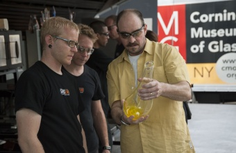 Designer James Victore at GlassLab on Governors Island, July 2012