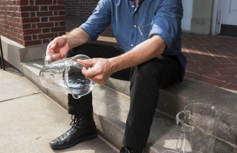 Leon Ransmeier with his design prototype for GlassLab on Governors Island