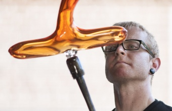 Designer Paul Sahre at GlassLab on Governors Island, July 2012