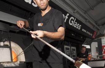 Designer Abbott Miller at GlassLab on Governors Island, July 2012